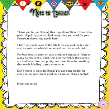 Superhero Theme Classroom Decor - EDITABLE