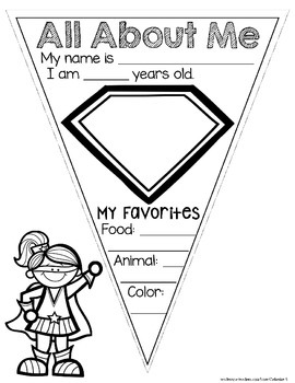 All About Me Pennant - Superhero Theme