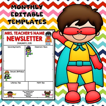 Superhero Theme Editable Monthly Newsletter Templates