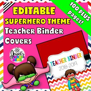 Superhero Theme Editable Binder Covers  (Superhero Teacher Binder)