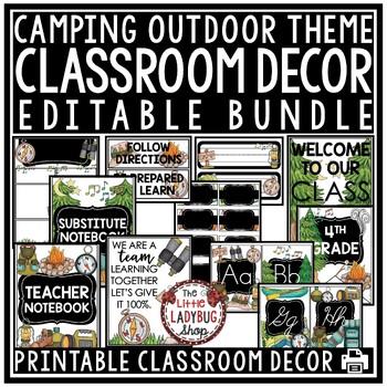 Camping Theme Classroom Decor - Editable BUNDLE