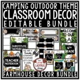 Camping Theme Classroom Decor: Newsletter Template Editable, Labels