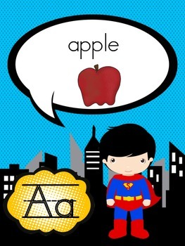 Superhero Theme ABC Cards Posters