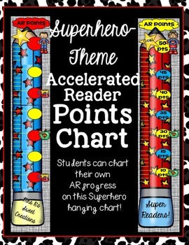 superhero theme accelerated reader points ar hanging chart tpt