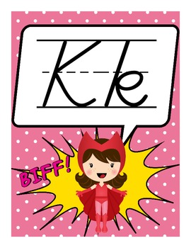 Superhero Theme Alphabet Posters (D'Nealian)