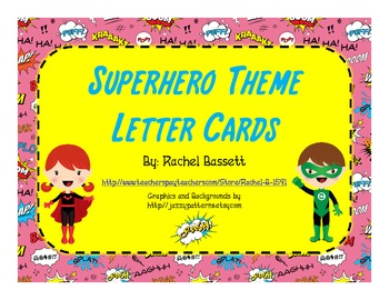 Superhero Theme Alphabet Letter Cards Aa-Zz