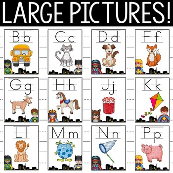 Superhero Theme Alphabet Posters Primary Font - Superhero Theme Classroom Decor
