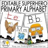 Superhero Theme Alphabet Posters Primary Font - Superhero