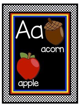 Superhero Theme Alphabet/Word Wall Header Display Cards in Black