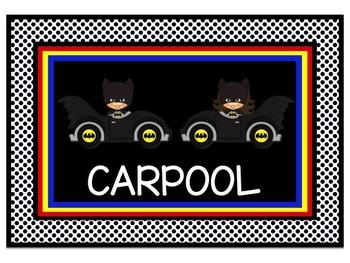 Superhero Theme Transportaion Chart in Black