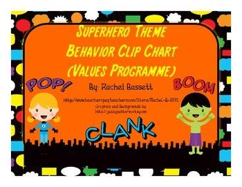 Superhero Theme Behavior Clipchart - Values Programme
