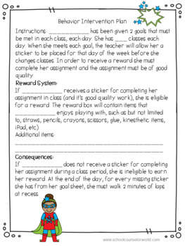 Superhero Theme, Behavior Contract for a Boy and a Girl