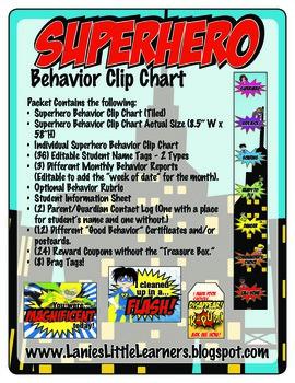 Superhero Theme Behavior Management Toolkit {Behavior Clip Chart}