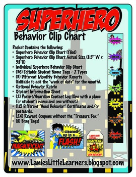 Superhero Theme Behavior Management Toolkit {Behavior Clip Chart}