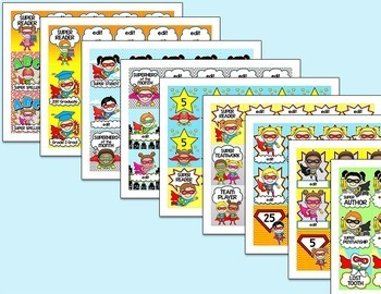 Superhero Theme Brag Tags for Behavior Management and Goal Achievement