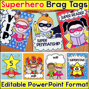 Superhero Theme Brag Tags for Behavior Management and Goal