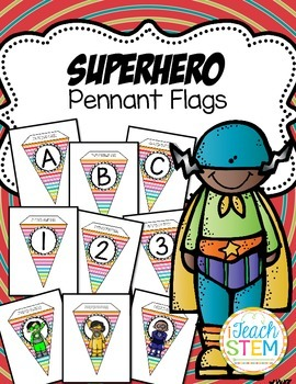 Superhero Theme Bright Colored Pennant Flags - Create A Banner