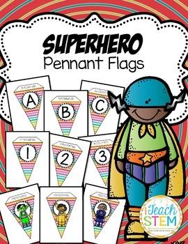 Superhero Theme Bright Colored Pennant Flags - Create A Banner