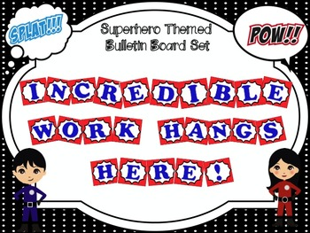 Bulletin Board Set: Superhero Themed Red and Blue