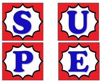 Bulletin Board Set: Superhero Themed for Super Work