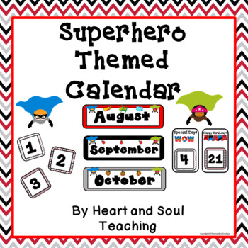 Superhero Theme Calendar