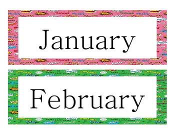 Superhero Theme Calendar Headers