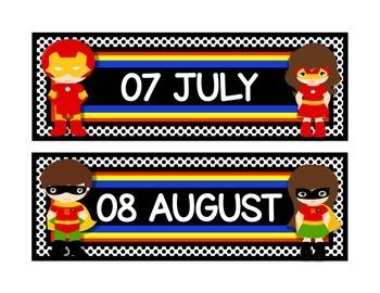 "Superhero Theme Calendar Months in Black 8.5""  x 11"""
