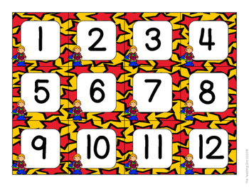 Superhero Theme Calendar Number Cards