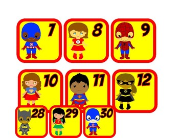 Superhero Theme Calendar Numbers and Months