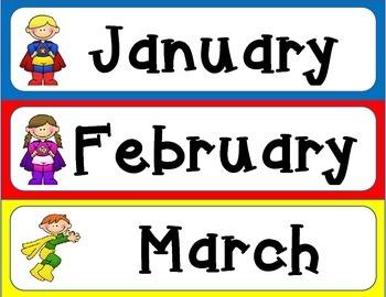 Superhero Theme Calendar Set