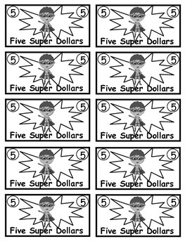 Superhero Theme Class Cash Super Dollars