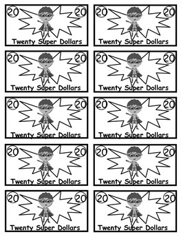 Superhero Theme Class Cash Super Dollars