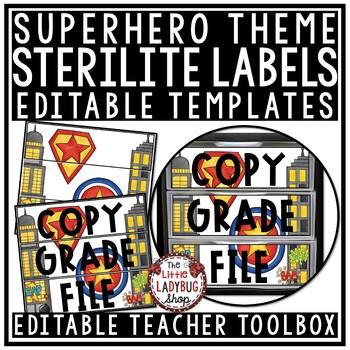 Superhero Theme Classroom- Mailbox Labels 3 Sterlite Drawer Labels Editable