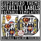 Superhero Theme Classroom- Mailbox Labels 3 Drawer Sterilite Labels Editable