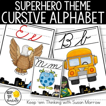 Superhero Cursive Alphabet Posters - Superhero Theme Classroom Decor
