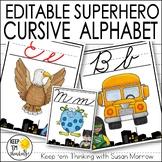 Superhero Cursive Alphabet Posters - Superhero Theme Class