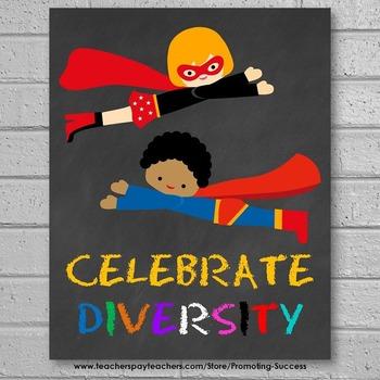 Celebrate Diversity Poster, Superhero Theme Classroom Decor 8x10 16x20