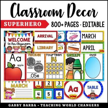 Superhero Classroom Decor Bundle {500+ pages!}