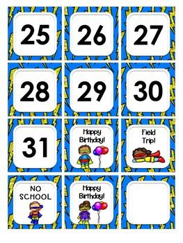 Superhero Theme Classroom Decor - Calendar Set