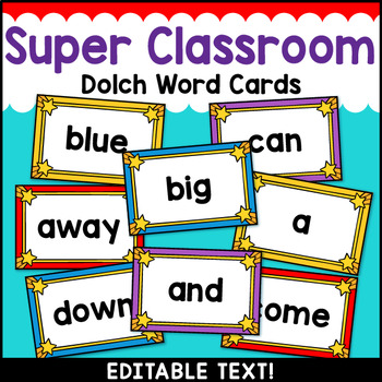 Superhero Theme Classroom Decor Dolch Word Wall Cards