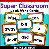 Superhero Theme Classroom Decor Dolch Word Wall Cards