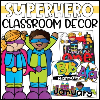 Superhero Theme Classroom Decor Bundle - Editable!