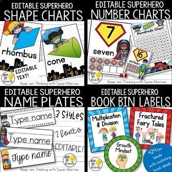 Superhero Theme Classroom Decor Bundle Editable: Superhero Classroom Theme Decor