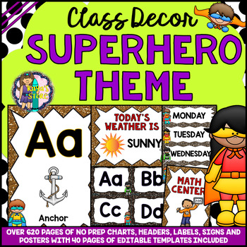 Superhero Theme Classroom Decor Mega Bundle Pack EDITABLE BACK TO SCHOOL