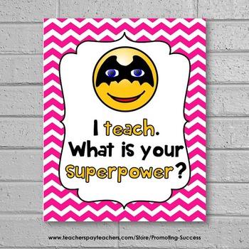I Teach What's Your Superpower Emoji Poster, Teacher Appreciation Gift Idea