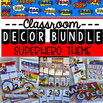 Superhero Theme Classroom Decor and Word Wall Bundle