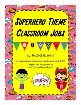 Superhero Theme Classroom Jobs