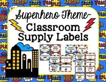 Superhero Theme-Classroom Supply Labels