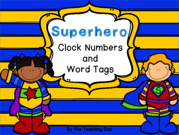 Superhero Theme Clock Tags & Labels