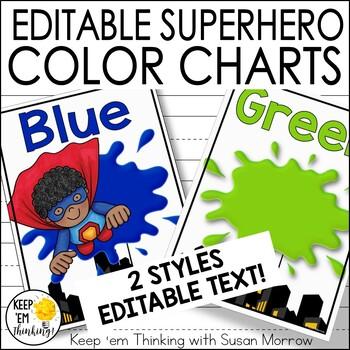 Superhero Theme Color Posters - Superhero Theme Classroom Decor